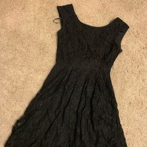 Forever 21 Black laced open back dress with bow